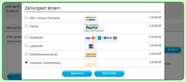Sie möchten mit Sofortüberweisung oder AmazonPayments bezahlen - AQUALITY Kaufabwicklung