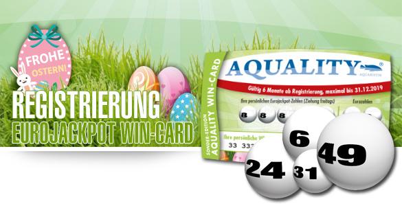 Kostenlose Registrierung der limitierten AQUALITY WIN-CARD Sonder-Edition Eurojackpot