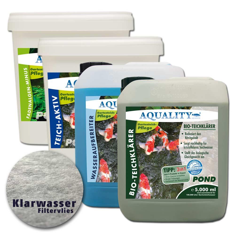 Aquality komplett teichpflege set xxl gartenteich spar sets for Gartenteichpflege algen